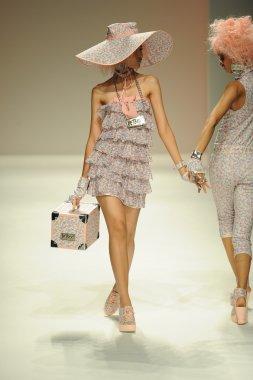 Model walks runway at Betsey Johnson show