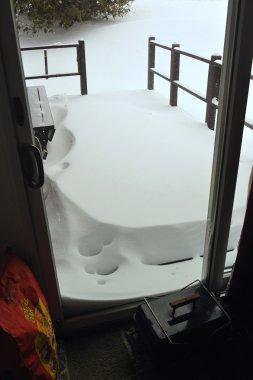 Fresh snow on the balcony