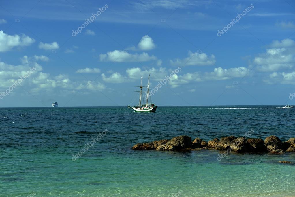 Sailboat at tropical waters