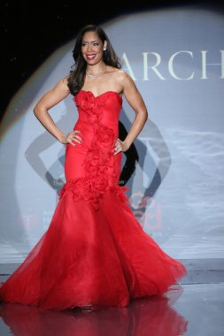 Gina Torres wearing Marchesa at Go Red For Women