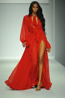 Model at Michael Costello fashion show