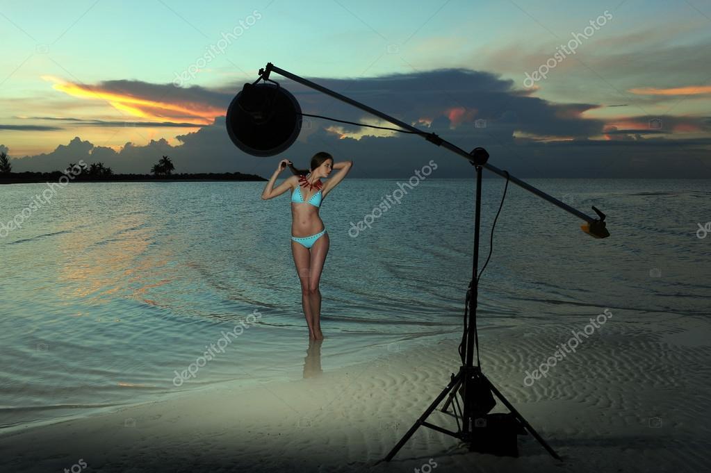 Model in bikini on beach
