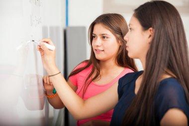 Classmates solving a problem