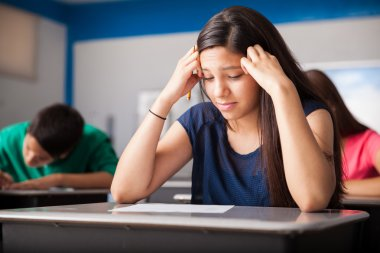 Stressed student during a test