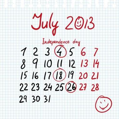 Calendar 2013 july in sketch style