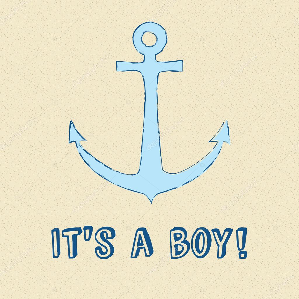 Baby Boy Announcement Card With Blue Anchor Stock Vector - Boy announcement