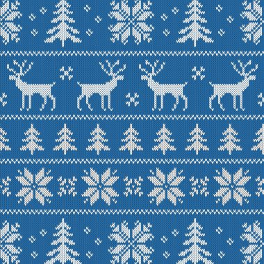 Seamless pattern with winter sweater design - deer, snowflake and christmas tree stock vector
