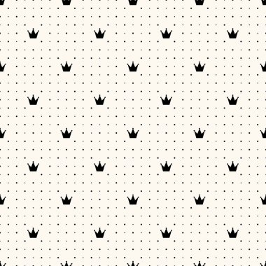 Vector seamless crown retro pattern