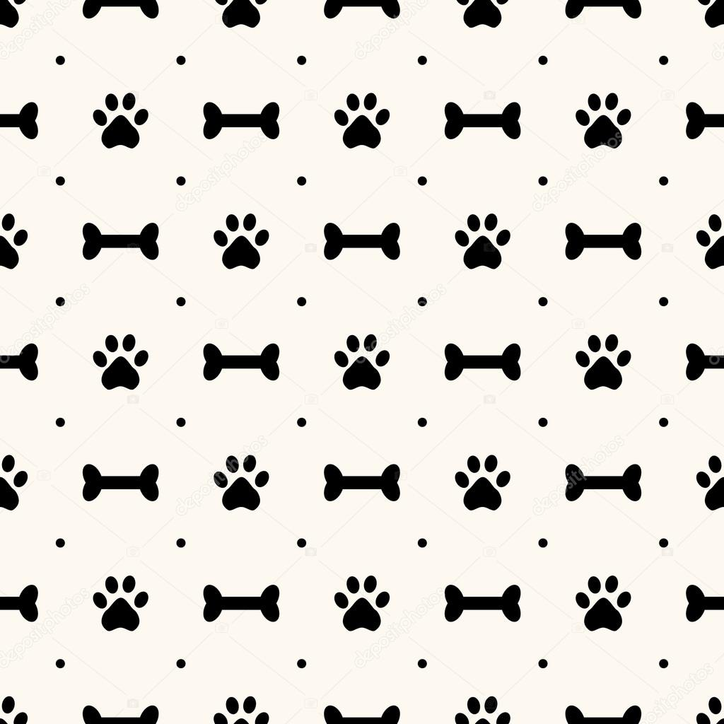 Seamless Animal Pattern Of Paw Footprint And Bone Polka Dot Can Be Used For Wallpaper Fills Web Page Backgroundsurface Textures Vector By