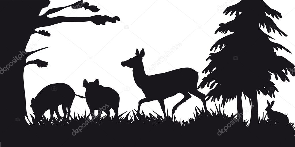 Black and white silhouette of hunting