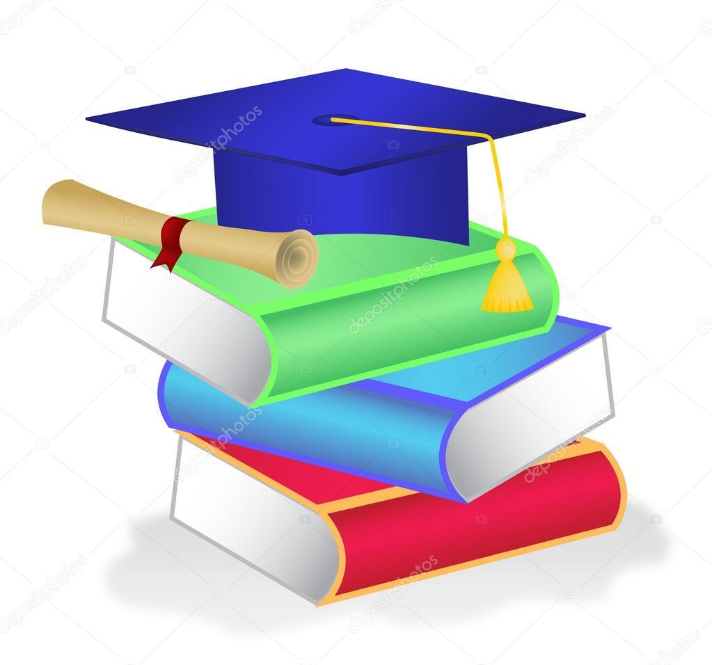 Stapel Von Büchern Mit Diplom Und Abschluss Hut Stockvektor