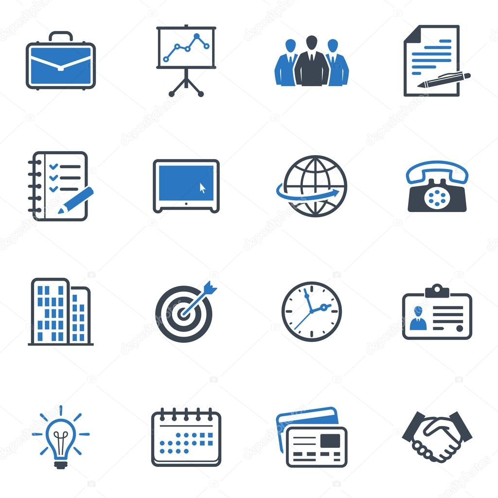 Business and Office Icons - Blue Series