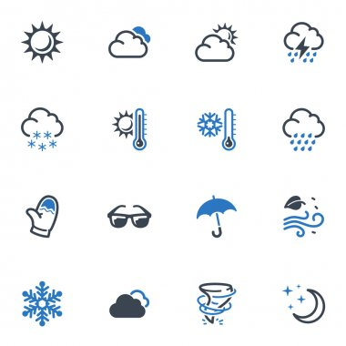 Set of 16 weather icons great for presentations, web design, web apps, mobile applications or any type of design projects. clip art vector