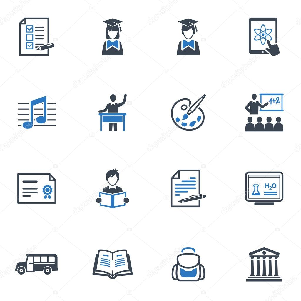 School and Education Icons Set 2 - Blue Series