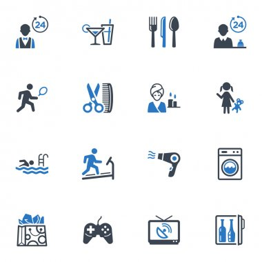 Hotel Services and Facilities Icons , Set 2 - Blue Series