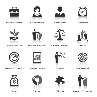 This set contains 16 business icons that can be used for designing and developing websites, as well as printed materials and presentations. clip art vector