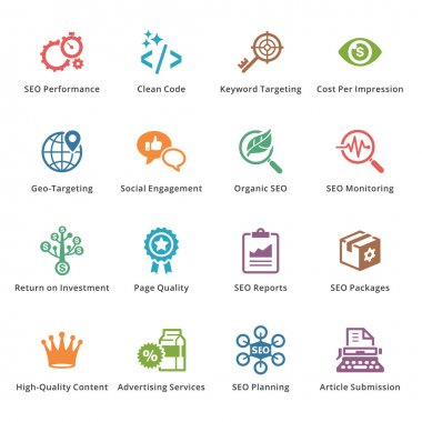 SEO & Internet Marketing Icons Set 4 - Colored Series