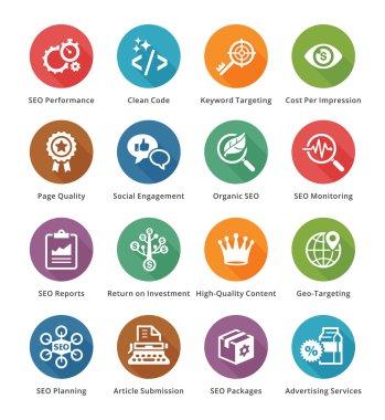 SEO & Internet Marketing Icons Set 4 - Long Shadow Series