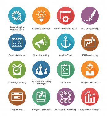 SEO & Internet Marketing Icons Set 5 - Long Shadow Series