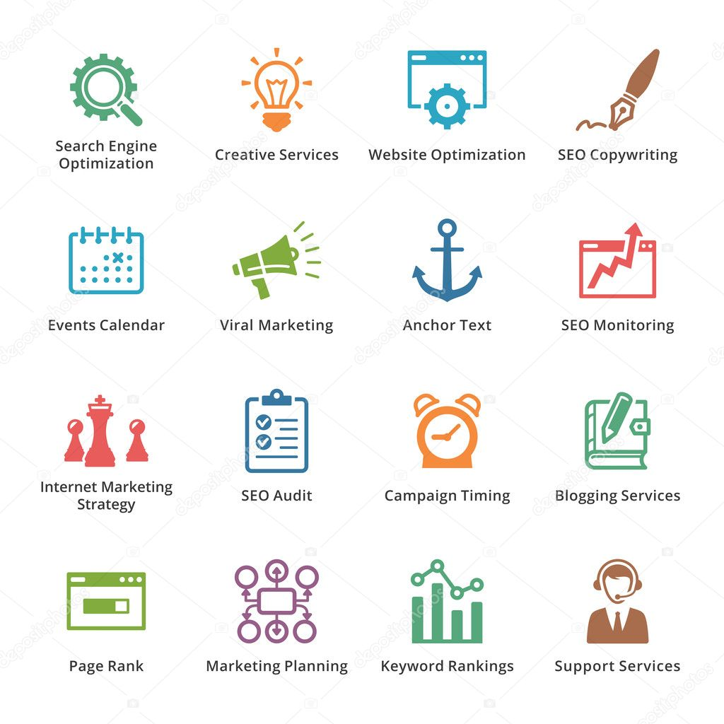 SEO & Internet Marketing Icons Set 5 - Colored Series