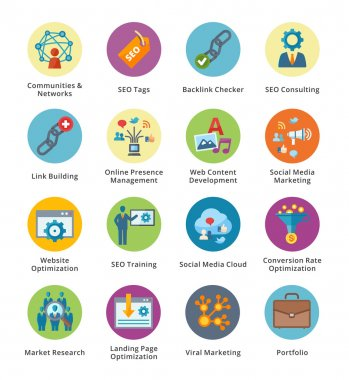 SEO & Internet Marketing Flat Icons Set 2 - Bubble Series