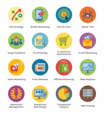 SEO & Internet Marketing Flat Icons Set 3 - Bubble Series