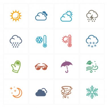 This set contains 16 weather icons that can be used for designing and developing websites, as well as printed materials and presentations. clip art vector