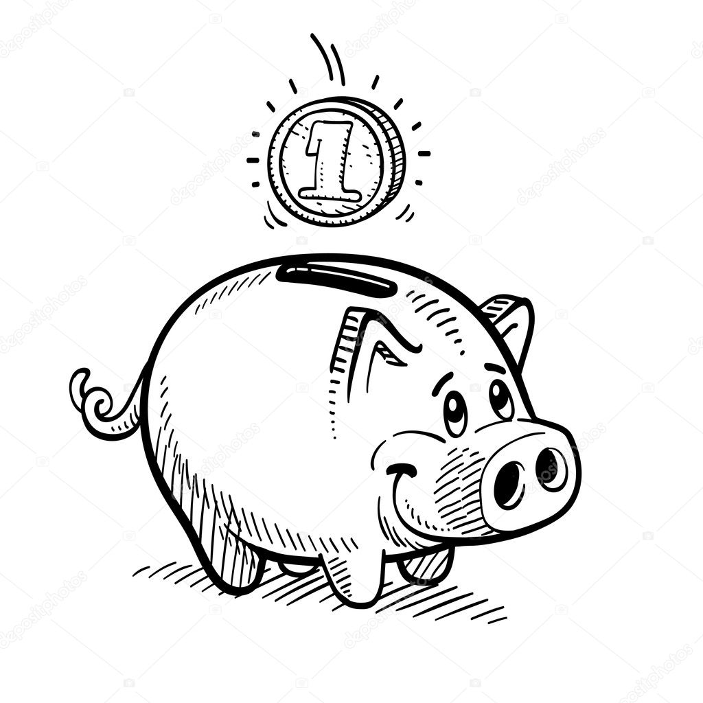 Line Drawing Piggy Bank : Piggy bank — stock vector dynamic