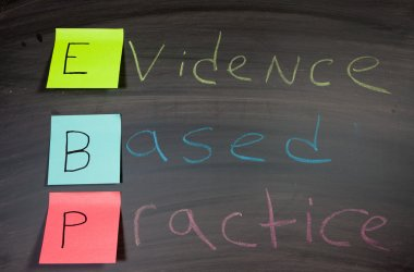 Evidence Based Practice on a chalk board