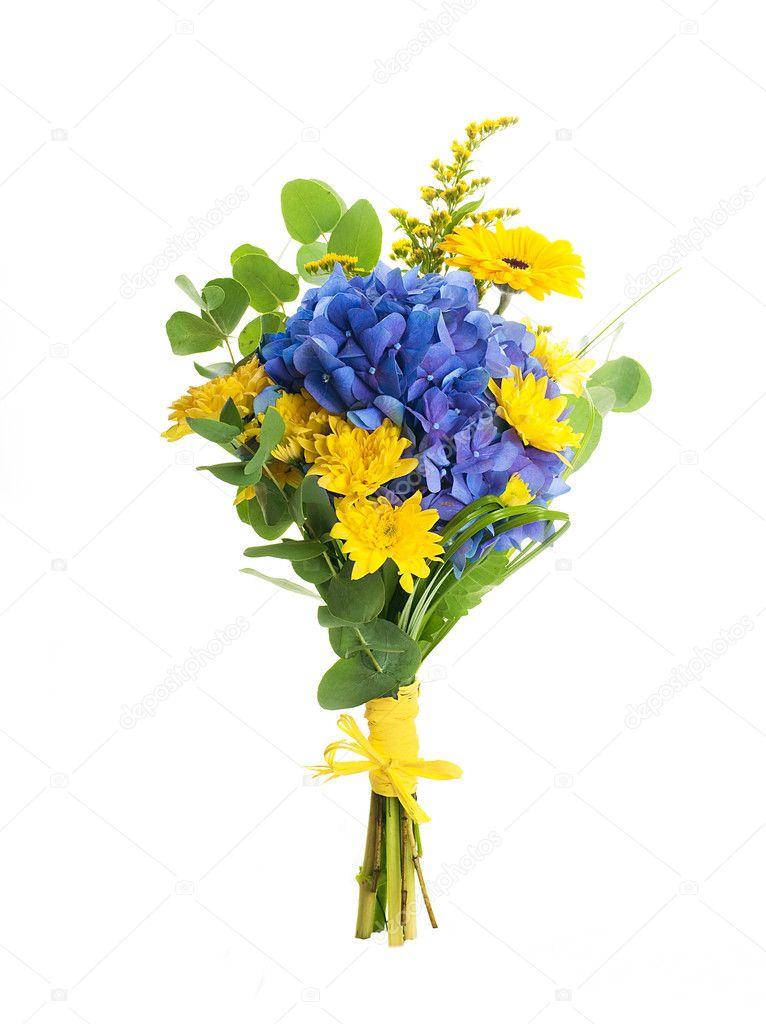 Blumenstrauß aus blauen Hortensien und gelbe Astern, eine Blume ...