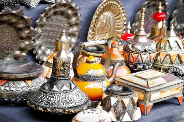 Teapot, tadjin, vase and other products of the Moroccan potter's factories