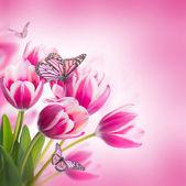 Fotografia bouquet di tulipani rosa