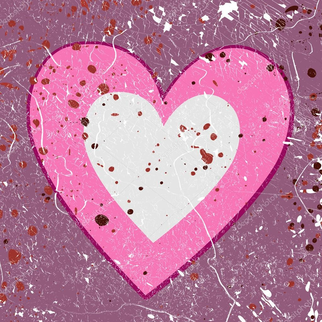 Grunge love background with hearts stock vector
