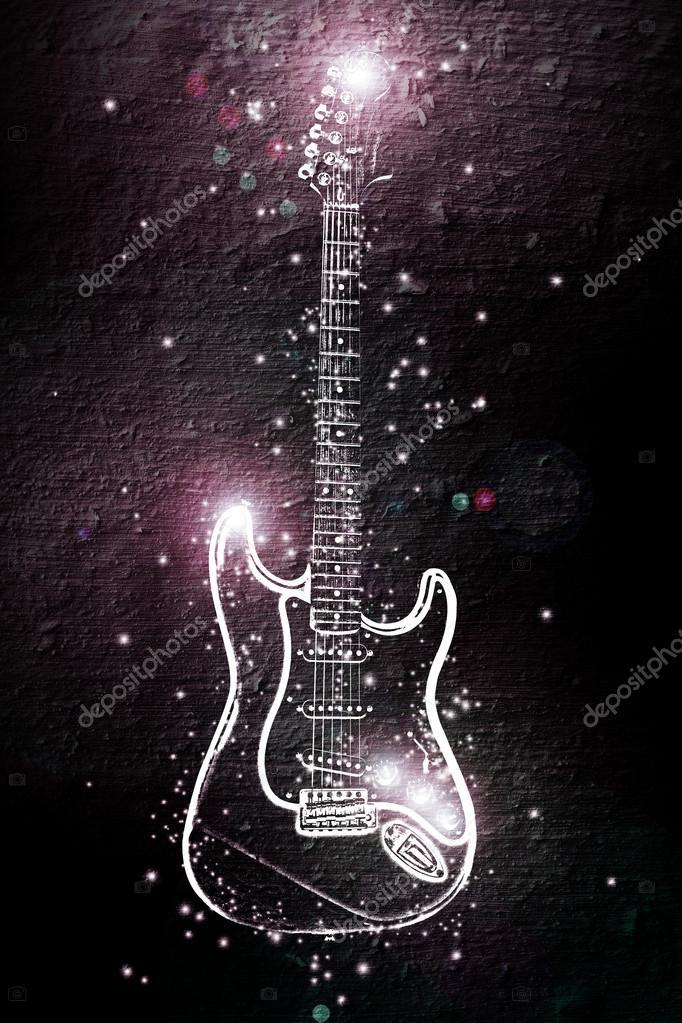 guitarra eléctrica en lugares de neón de la luz — Foto de stock ...