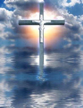 Cross Hangs in Sky over Water stock vector