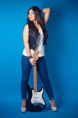 beautiful young woman with guitar
