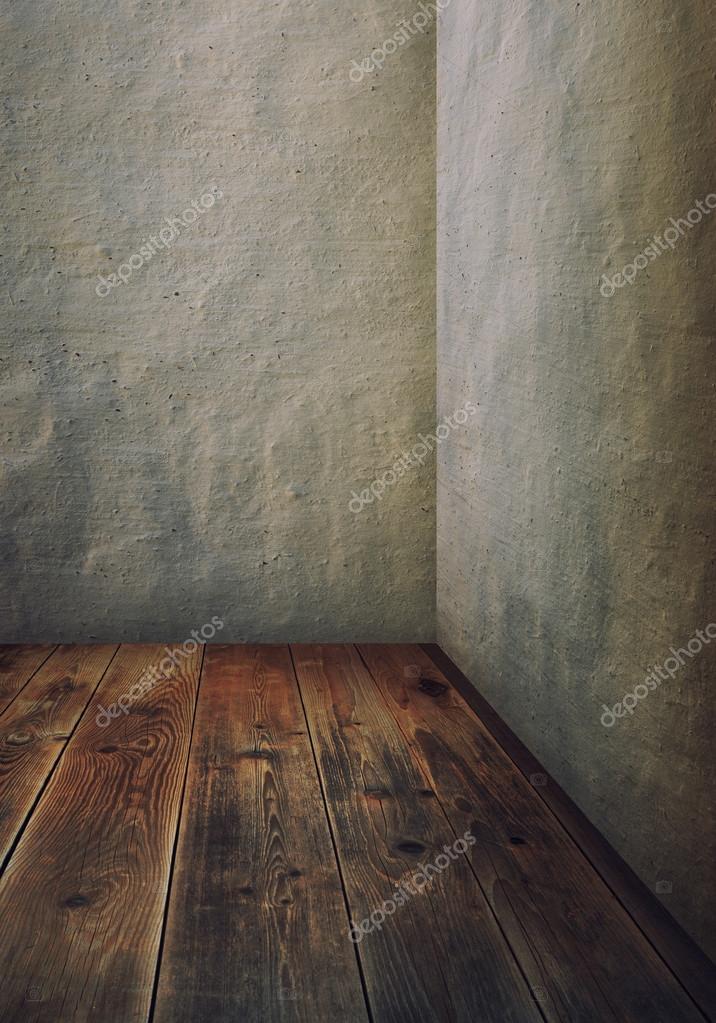 Zimmer Mit Grauen Wanden Und Holzboden Stockfoto C Merrydolla