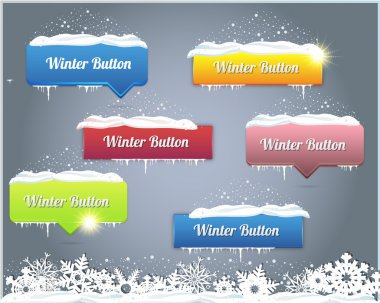 Set of Vector Button - Winter Web Elements