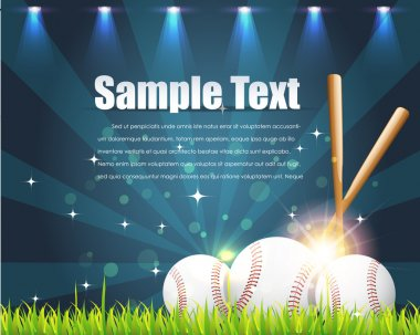 Baseball Theme Shiny Sky Vector Design