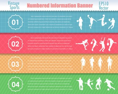 Numbered Information Sport Banner Vintage Pattern Vector Design