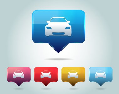 Car Icon Button Vector Design Multicolored