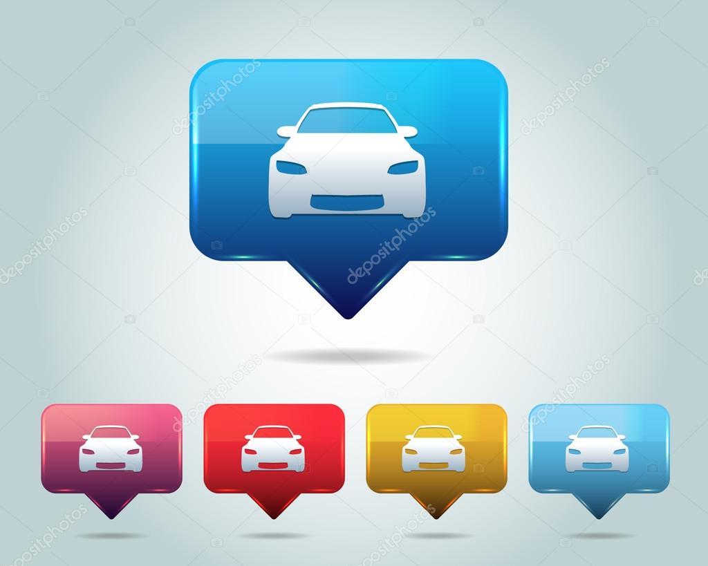 Car Icon Button Vector Design Multicolored