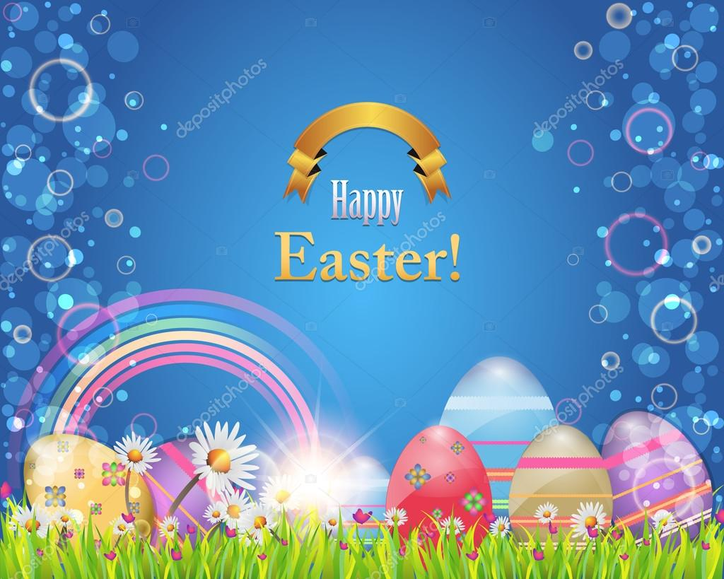 Happy Easter Background Banner Card Vector