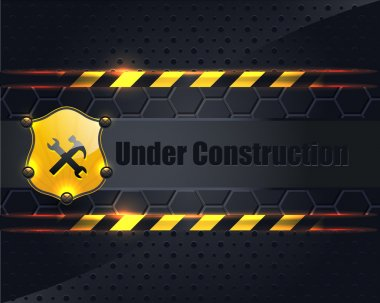 Under Construction Metallic Background Vector Design