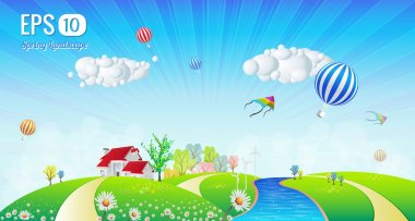 Beautiful Spring Summer Signboard Landscape Illustration