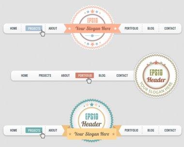 Web Elements Vector Header Navigation Light Templates Set