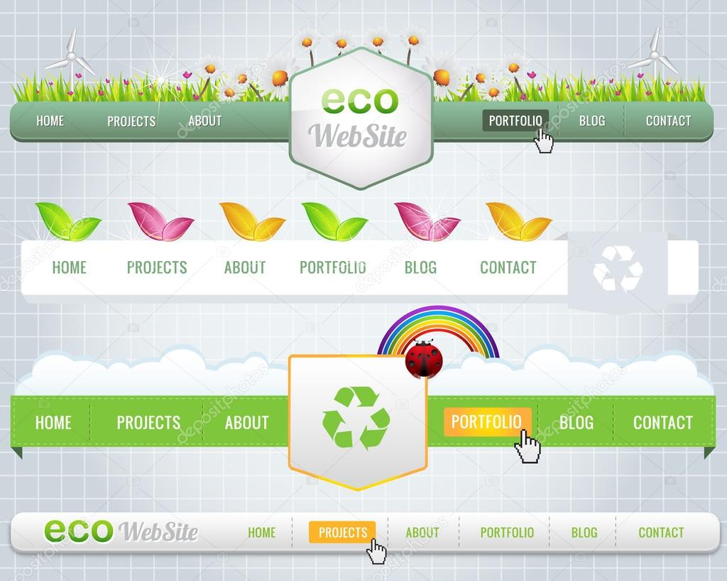 Web Elements Vector Header & Navigation Templates Set Eco Theme