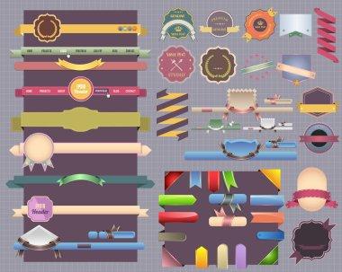 Vintage style, ribbon navigation gift menu banner box sticker decoration web set Vector design