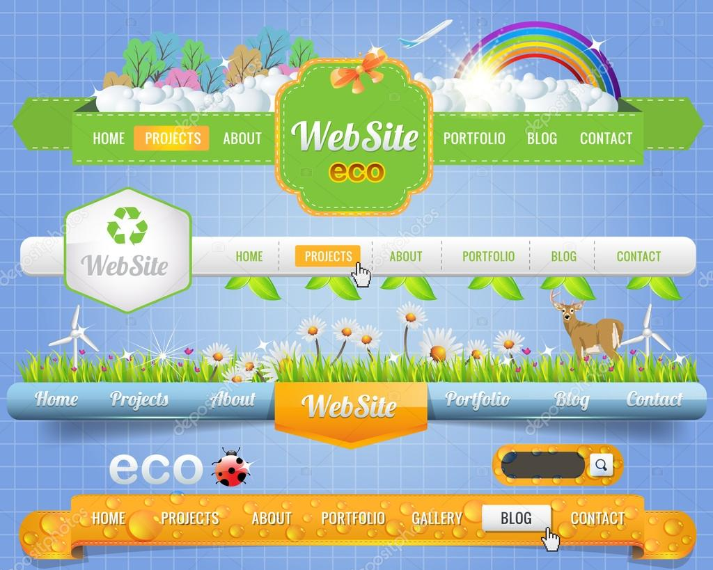 Web Elements Eco Vector Header & Navigation Templates Set Eco Theme