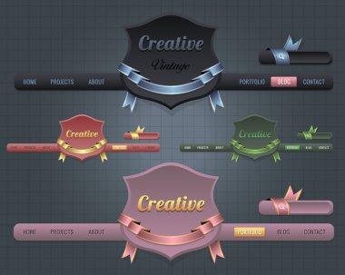 Web Elements Vector Header & Navigation Templates Set
